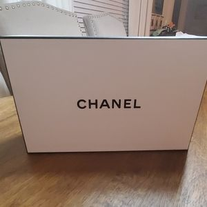 Chanel gift box, tissue and cosmetic bag